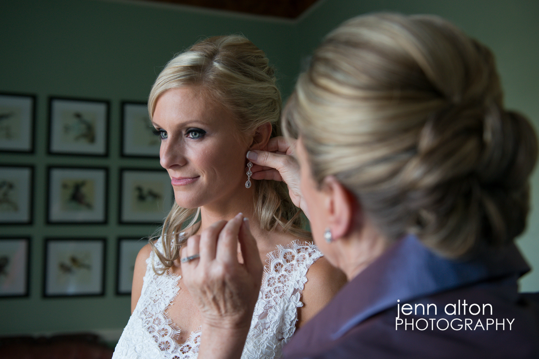 Bride with help of Mother putting on earrings, Henderson House