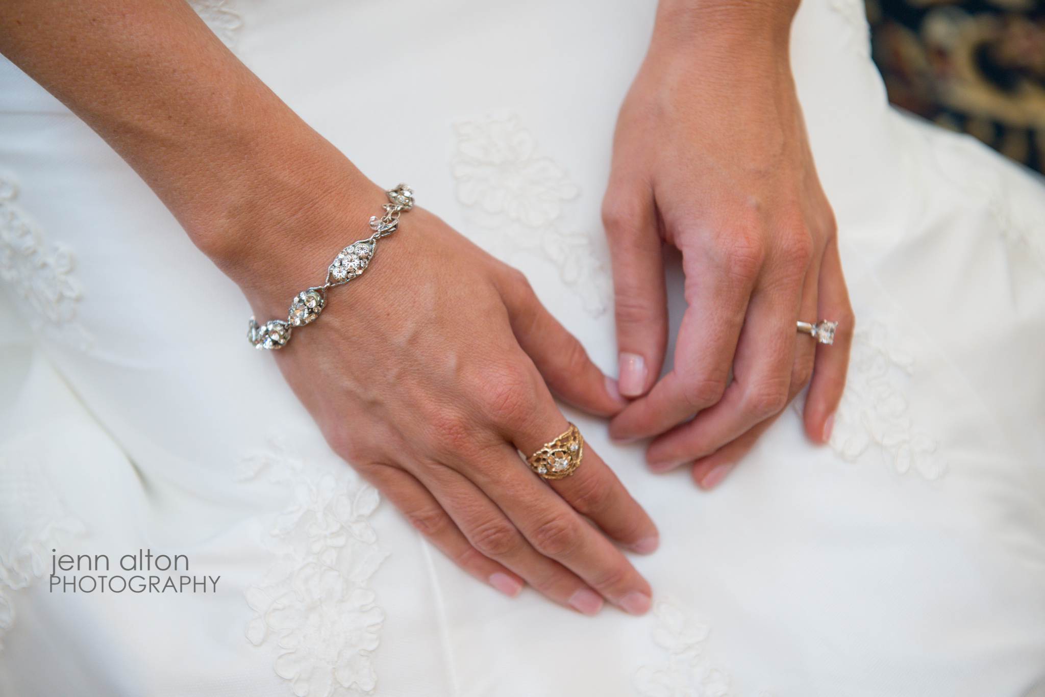 Bride's hands with jewlery, antique Grandmother's ring