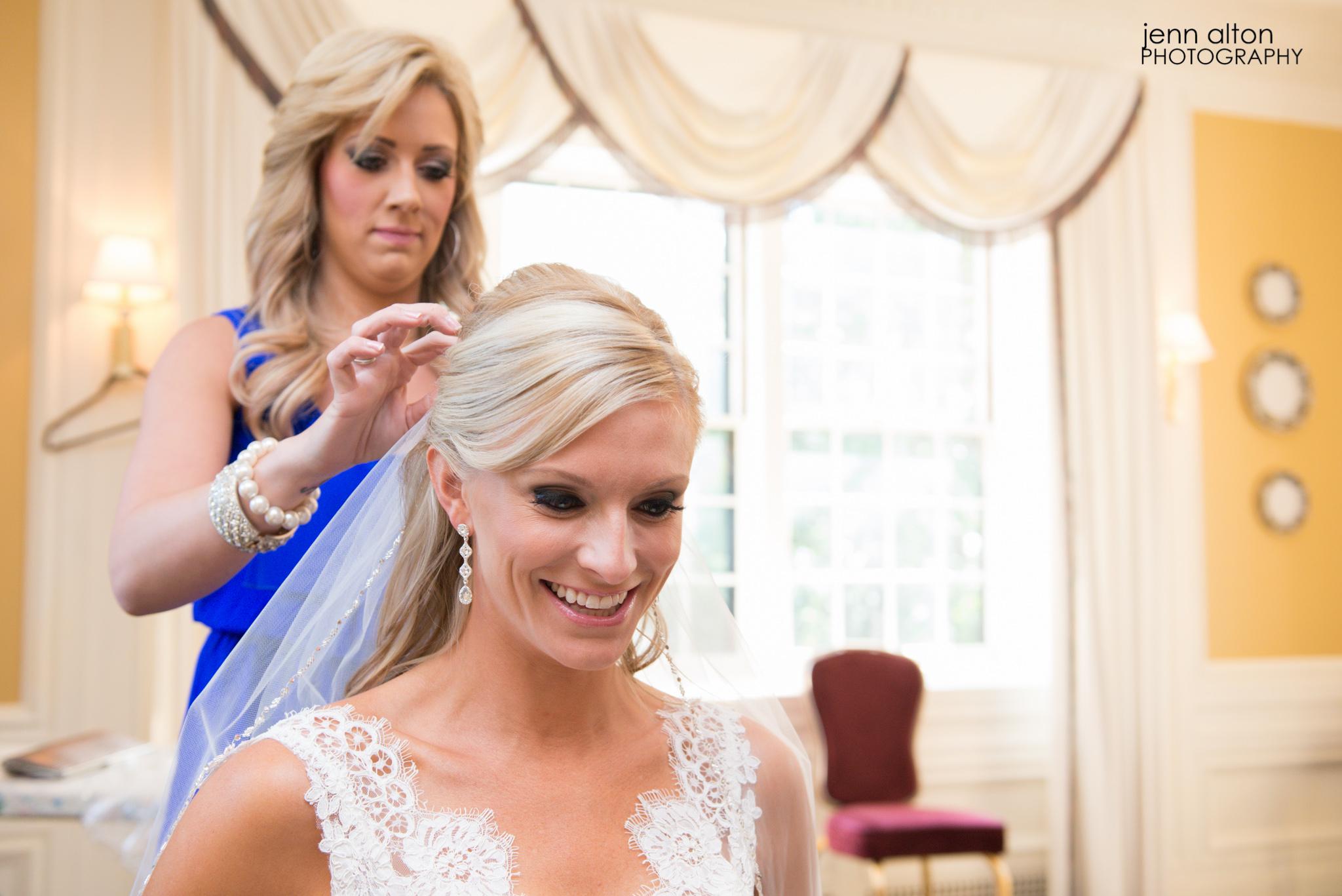 Bride getting veil put on pre- ceremony, Henderson House