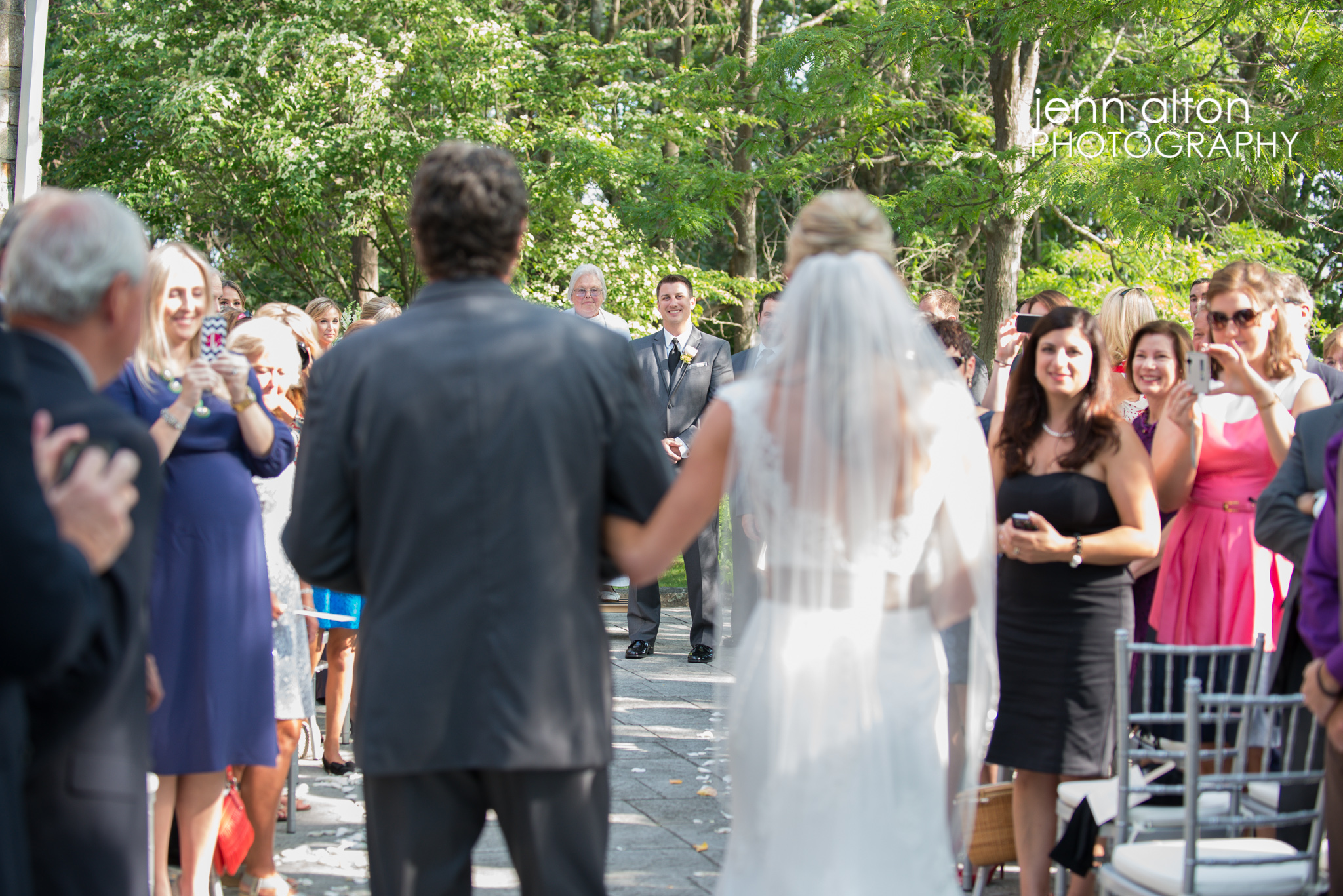 Groom seeing Bride walk in with Father, Henderson House