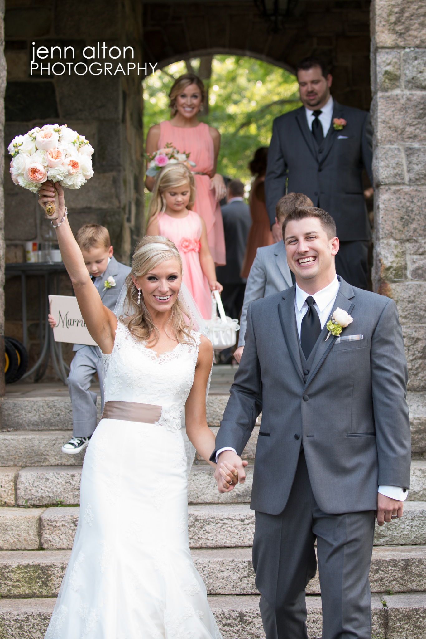 Bride and Groom celebrate immediately following ceremony, Henderson House