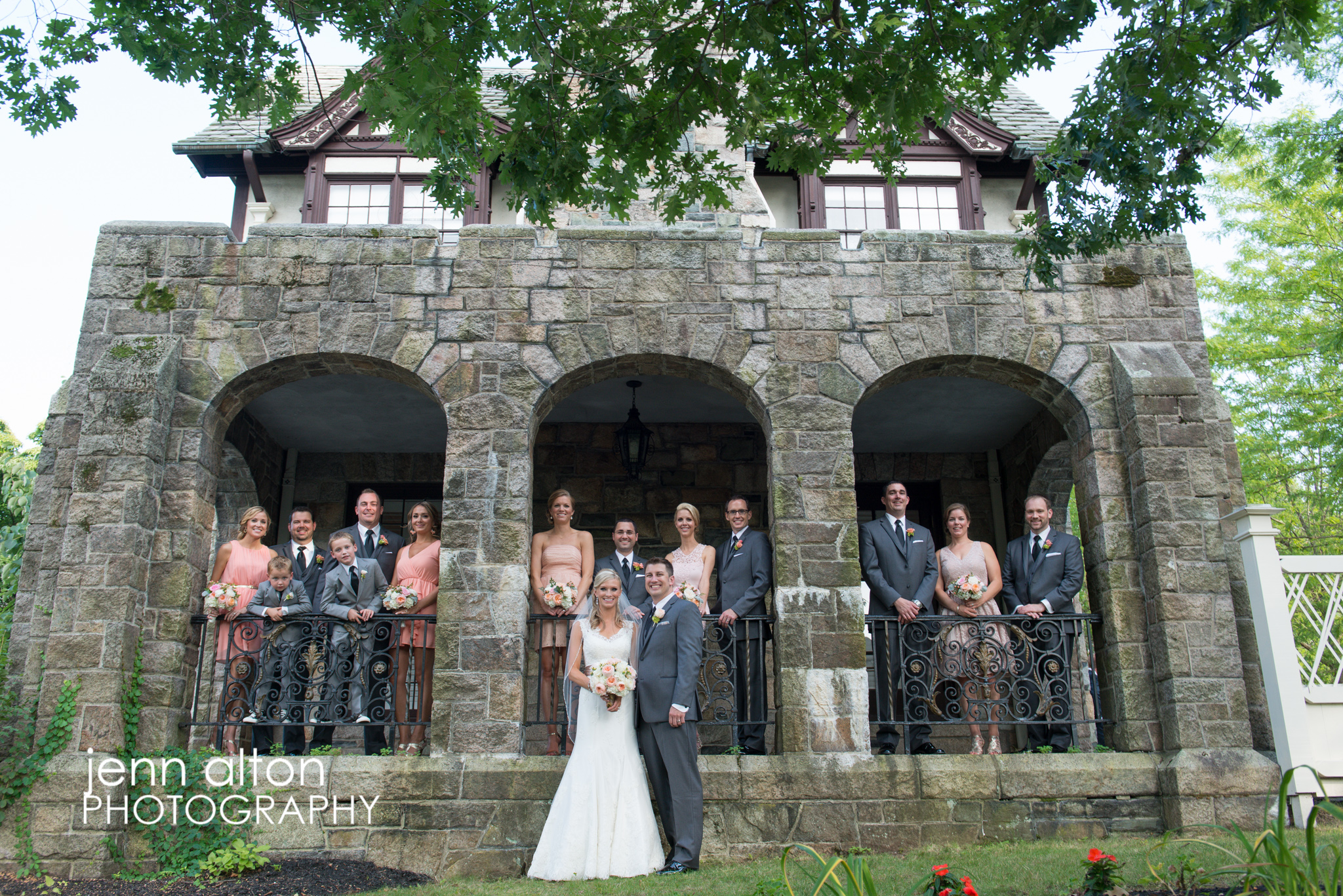 Bridal Party photo at Henderson House, stone arches