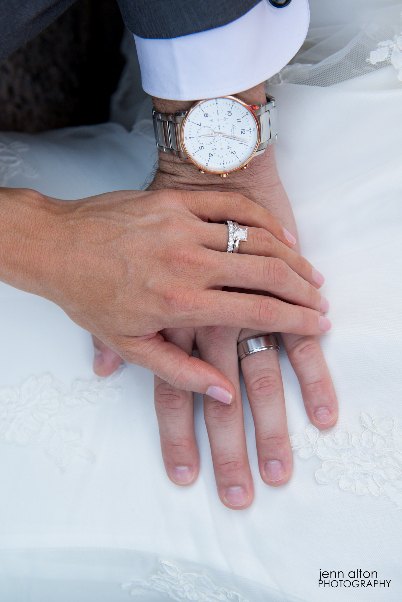 Bride and Groom hands with wedding bands