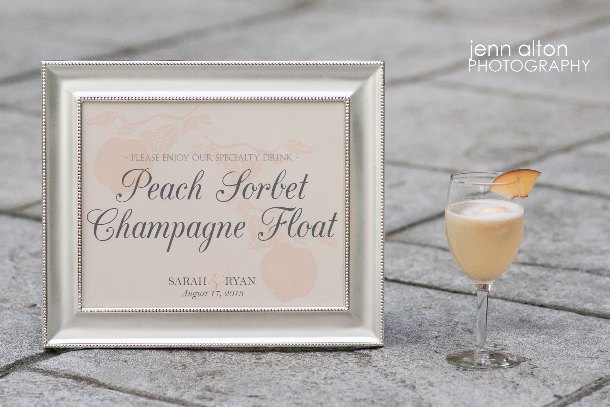 Bride and Groom's signature drink, Peach Sorbet Champagne Float