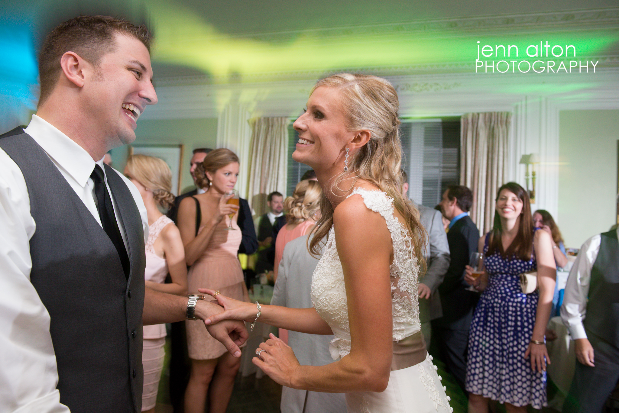 Bride and Groom Dancing at Reception, uplighting, Henderson House