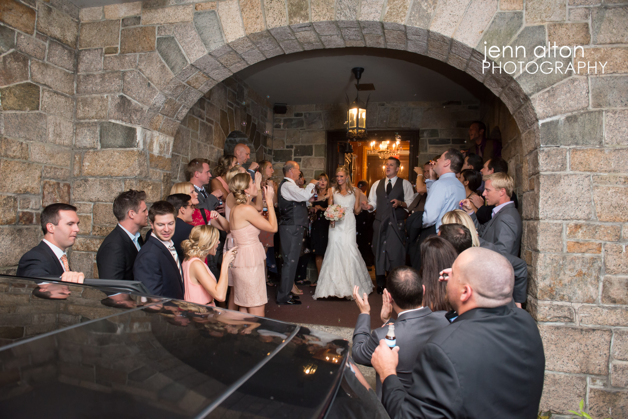 Grand exit with Bubbles for bride and groom, Henderson House