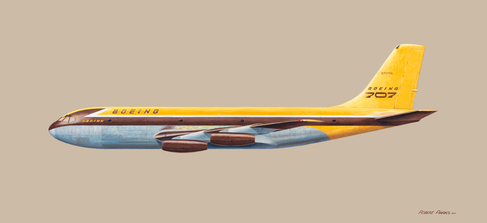 Boeing 367-80 (707 Prototype) . Oil on Panel . 48 x 22