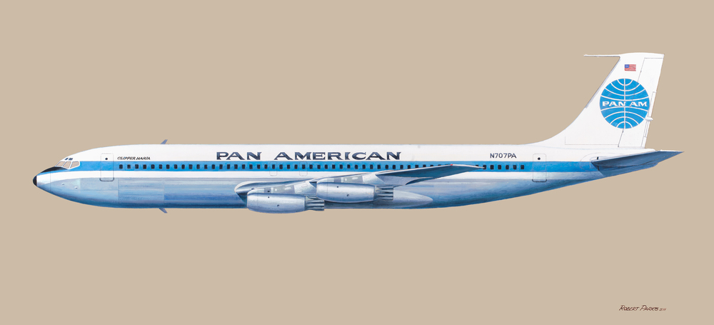 Boing 707 (Pan American) Oil on Panel . 48 x 22