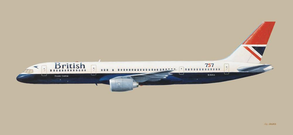 Boeing 757 (British Airways) . Oil on Panel . 48 x 22 (Sold)