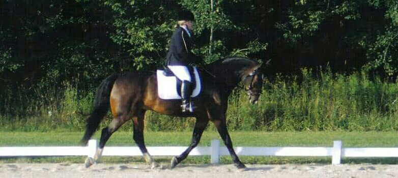 Melanie competing on Woody in a Dressage competition.