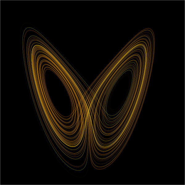 A plot of the Lorenz attractor for values r = 28, σ = 10, b = 8/3, describing the regular/irregular value output of the motions of fluid dynamics. If you don't understand how this relates to synaesthesia, don't worry. I'll talk about Chaos Theory at some point.