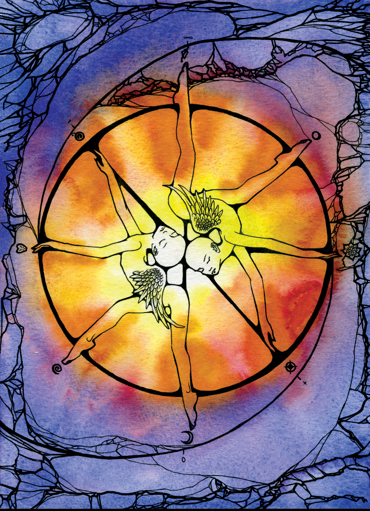 X: The Wheel (2003). Ink and watercolor on paper.