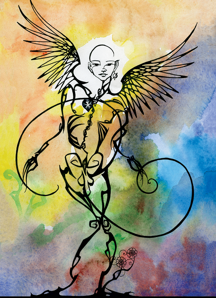 XX: The Angel (2004). Ink and watercolor on paper.