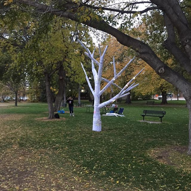 Tamara Rusnak @rusnakt and Aden Bowman art students at Nuit Blanche Saskatoon. Wait till it gets dark.... #nuitblanchesaskatoon