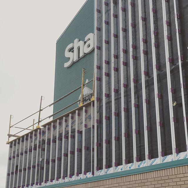 Exterior cladding under construction at Shaw Centre. We're using a fibreglass support system to minimize thermally bridging in the wall.  #underconstruction #cladding #claddingsystems #cascadiaclips