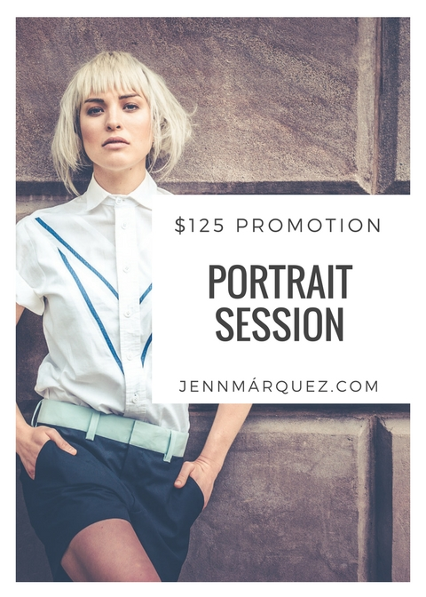 $125 (REG $350)  1 HOUR SESSION  5 EDITED IMAGES  1 PERSON  1 LOCATION