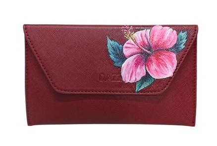 Hand painted pink hibiscus on clutch