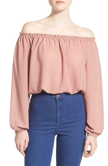Photo credit: Nordstrom Off the Shoulder Long Sleeve Crop Blouse