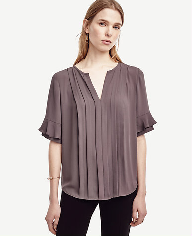 Photo credit: Ann Taylor Ruffle Sleeve Pintuck Tee