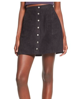 Photo credit: Nordstrom Button Front Faux Suede Skirt
