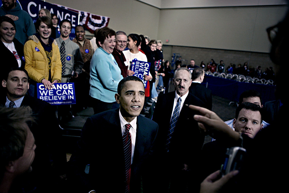 December, 2007. Barack Obama campaigning for the important Iowa caucuses.