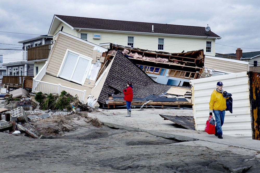 November 2012. Devastation after superstorm Sandy in Breezy Point, NY.