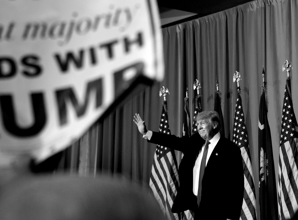 Donald Trump på sin valvaka i Spartanburg, South Carolina.