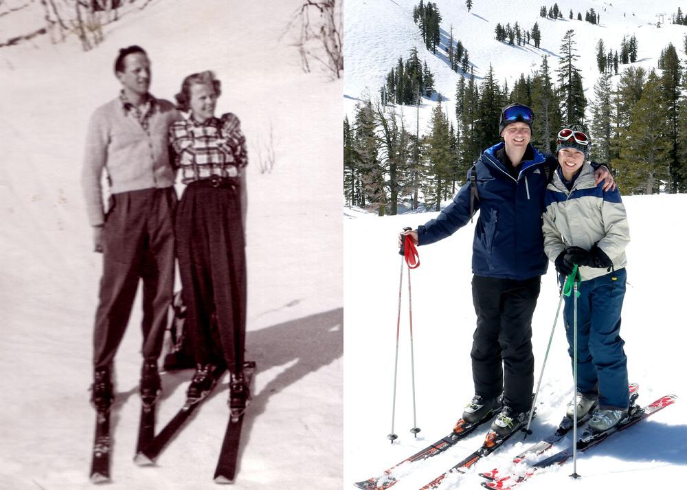 Till vänster är min morfar och mormor, Kåge och Marianne, i svenska fjällen någon gång på 50-talet och till höger är jag och Roseann i Squaw Valley för en vecka sedan. Konstaterar att det var mer stil förr.