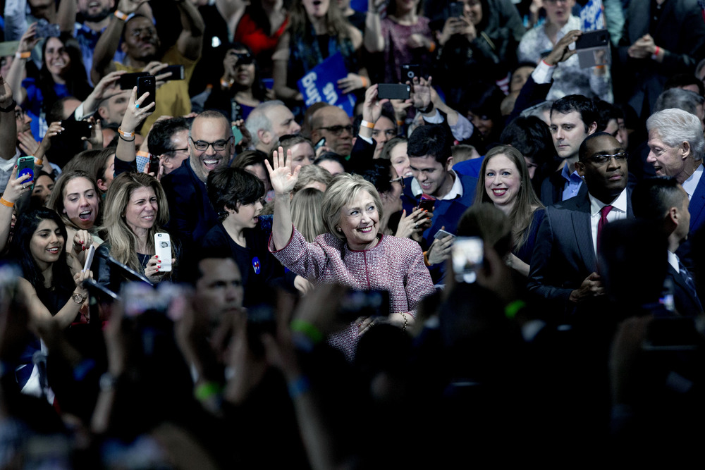 April 2016. Hillary Clinton at her election night event after winning the New York primary.