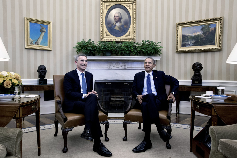 April 2016. General Secretary of NATO, Jens Stoltenberg, meeting with President Barack Obama in the Oval Office.