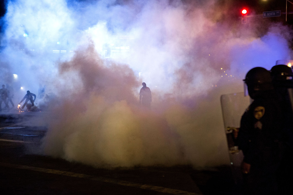 April 2015. Police and protesters clash in Baltimore after Freddie Gray died while being in police custody.