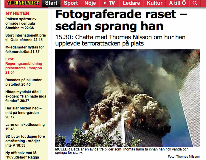 September 2006: Interview and chat with Aftonbladet's readers about September 11, 2001.    Read  article here . Read  chat here .