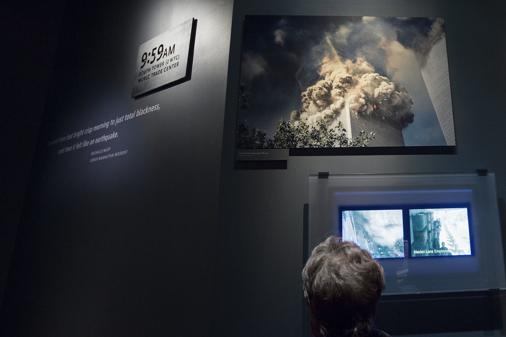 Permanent since September 2011: Thomas' picture of the South WTC Tower collapsing is showed at the 9/11 Memorial Museum in New York.