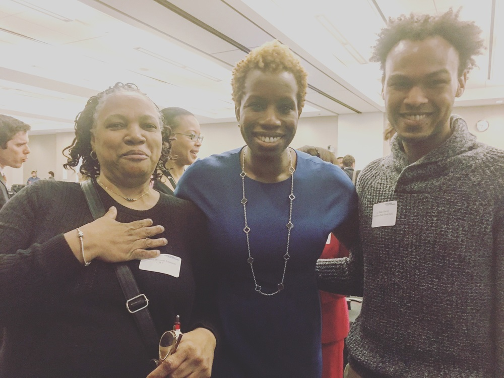 From left: Genora Bennett Johnson from Community Board 7, New York City's Housing Authority Chair and CEO Shola Olatoye, and L. Blake Harvey.