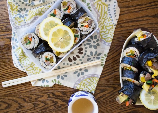 "Korean kimbap ""sushi rolls"" recipe 