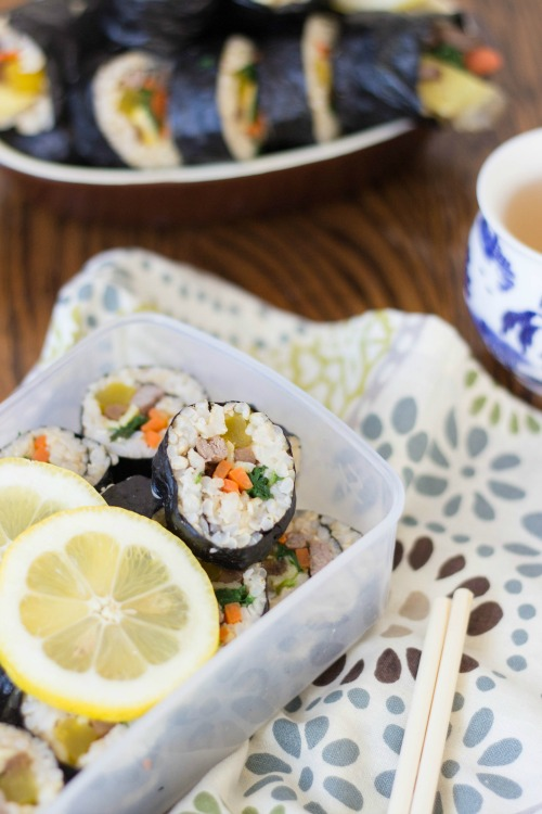"Korean kimbap ""sushi rolls"" recipe step by step 