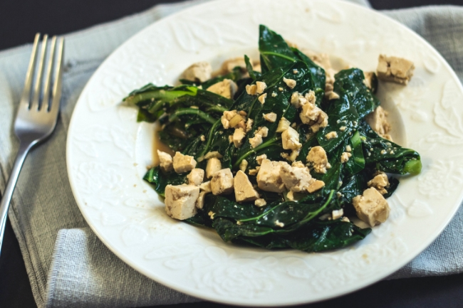 miso and tofu collard greens