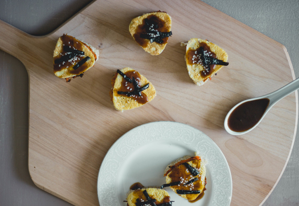 carrot jeon triangles with eel sauce-korean and japanese bento style