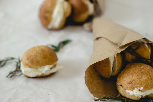 Homemade whole wheat buns with lavender cream | fit for the soul