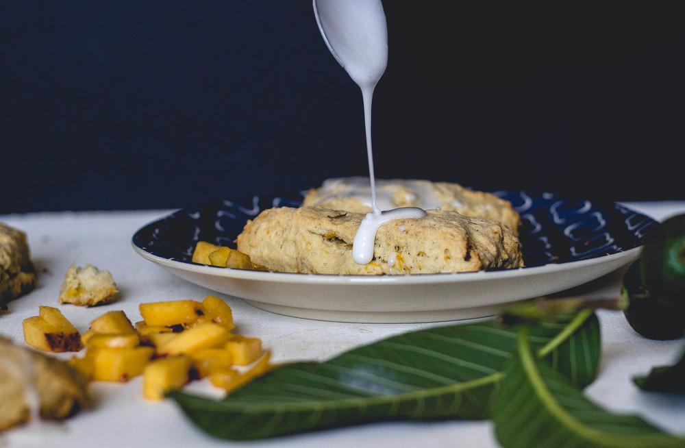 brown butter peach scones