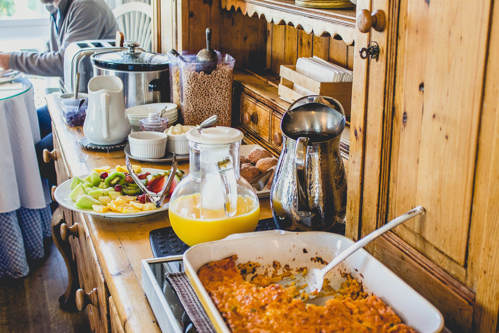 breakfast buffet at Playa del Rey bed and breakfast