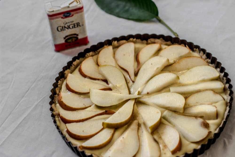 Honey pear tart in oat crust and pastry cream prep {gluten free}.jpg