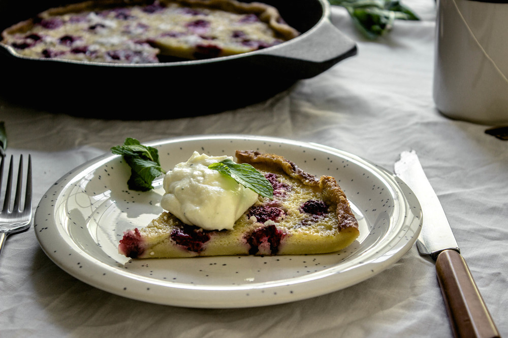 Gluten free raspberry clafoutis and a minty lime mascarpone cream | fit for the soul