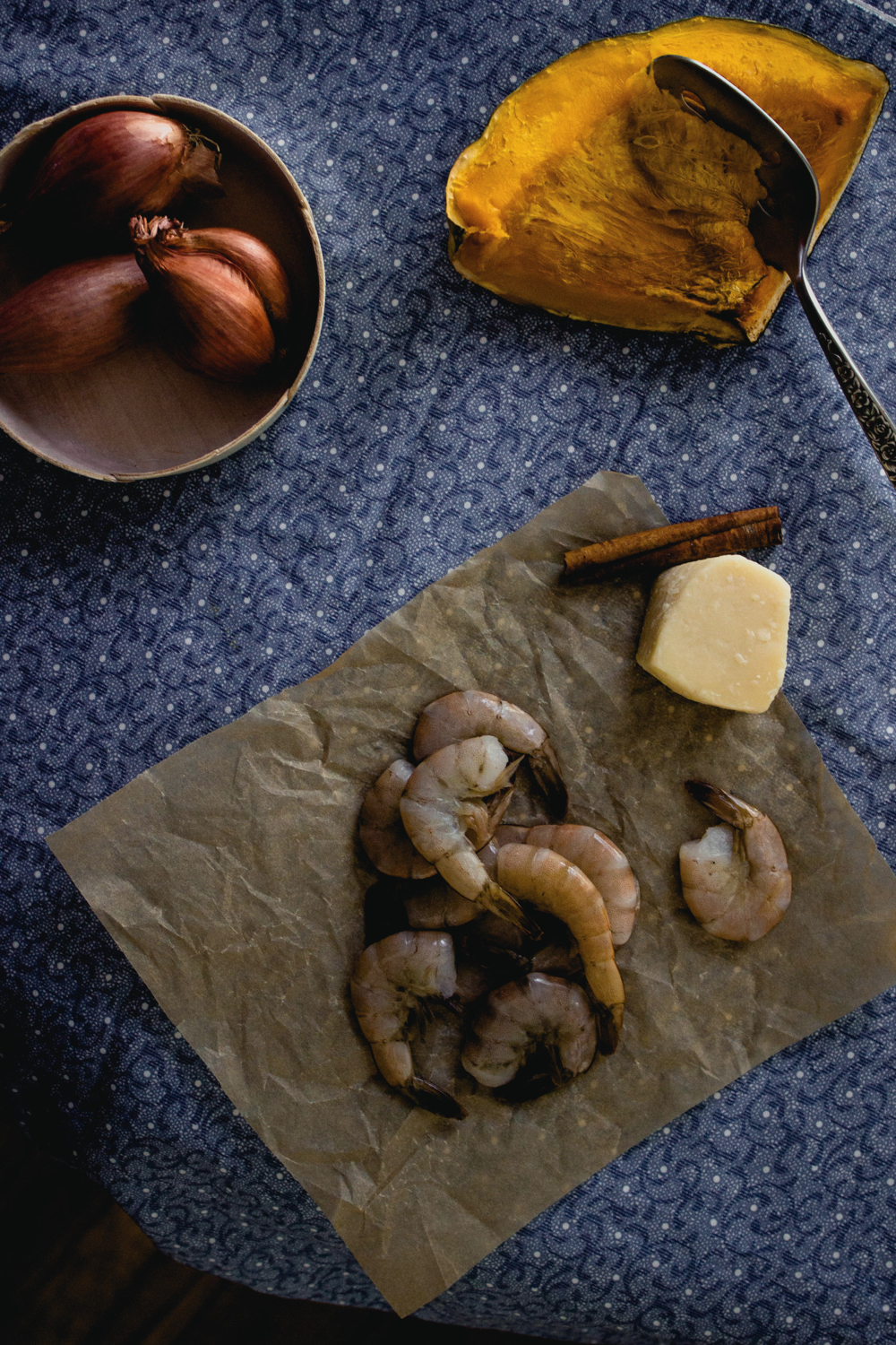 Shrimp and shallots and squash for a bisque recipe | fit for the soul