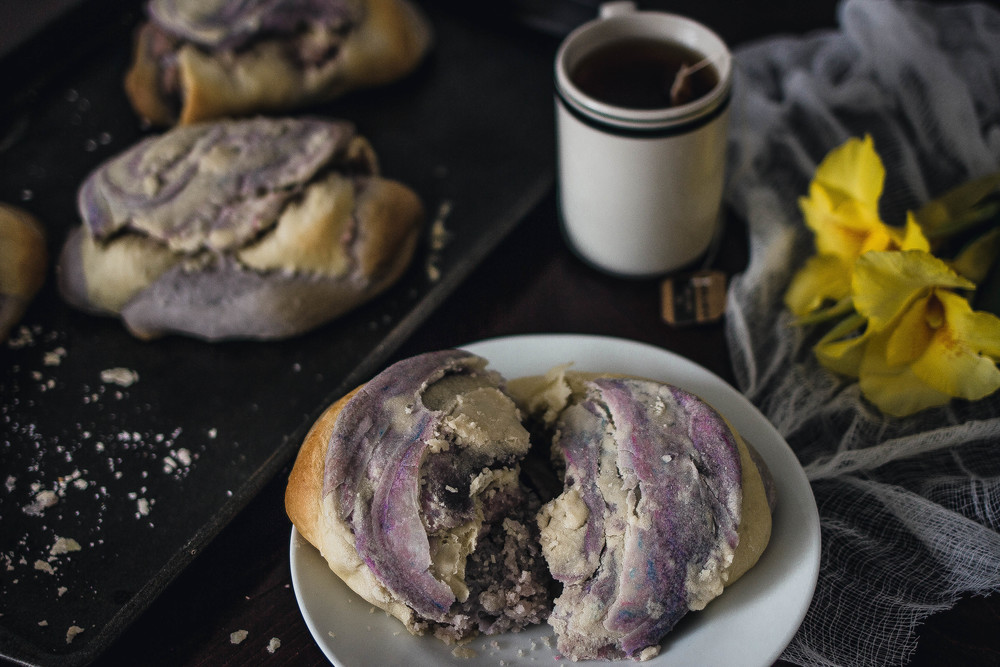 Marble Taro Bread Recipe Step by Step | by fit for the soul