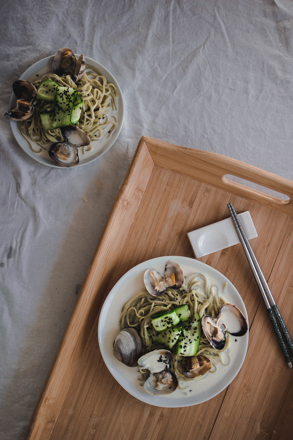 Green Tea Soba and Creamy Vongole Pasta--Hakubaku Cha Soba | by fit for the soul