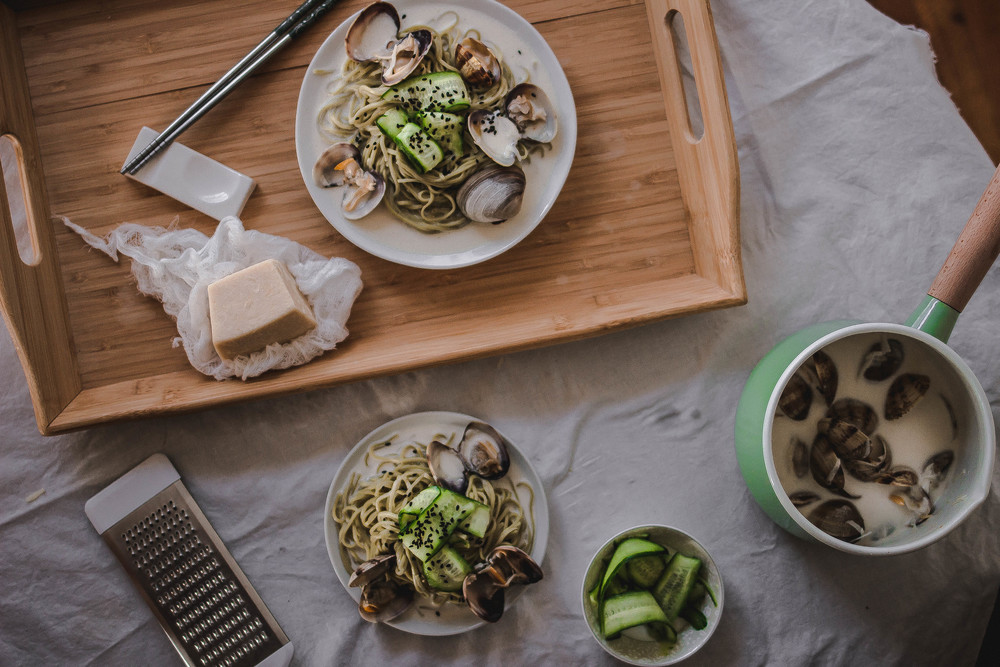 Green Tea Soba and Creamy Vongole Pasta Recipe--Level Easy | by fit for the soul