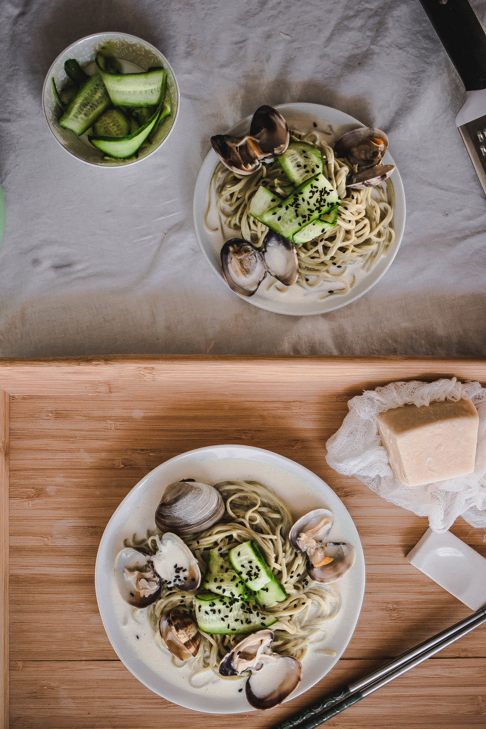 Green Tea Soba and Creamy Vongole Pasta--Easy Recipe | by fit for the soul
