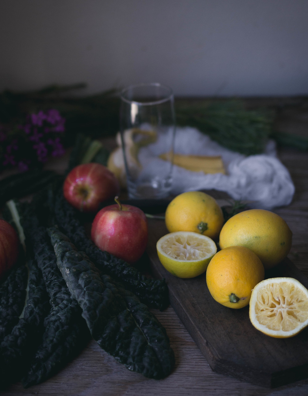 Ingredients for a kale and fruit smoothie | by fit for the soul
