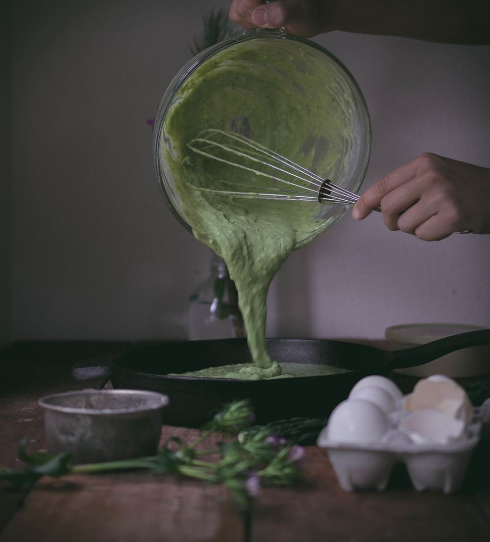 Thick green velvet buttermilk pancakes with kale puree | by fit for the soul